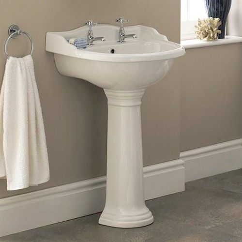 Marquis 600mm Basin & Full Pedestal - 2 Tap Hole